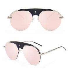 2017 Metal Frame Siamese Sunglasses Women Men UV400 Protection Lenses pink 001