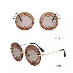 2017 Street Fashion Rimless Round Sunglasses with Double Heart Shape orange 001