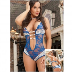 Sexy Lingerie for Women Upgraded Stretchy Lace Teddy Bodysuit Plus Size Lingerie blue s