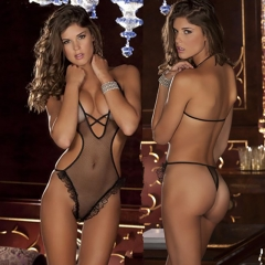 Sexy lingerie perspective three point conjoined temptation suit women sexy Siamese clothing black all code