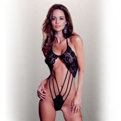 Sexy lingerie perspective three temptation set full lace transparent fun pajamas black all code
