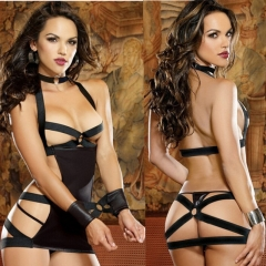 Sexy Lingerie underwear black female prisoners tied to the temptation set dew cream hollow pajamas black all code