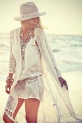 Bohemian Long Lace Tassel Cardigan Holiday Beach Sunscreen White Free Size