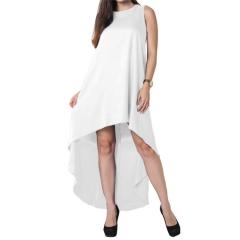 Summer Women Bohemian Irregular Wide Beach Vest Dress White S