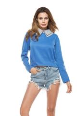 Double Burnout Collar Long Sleeve Knitted Women Tops Sky Blue XL