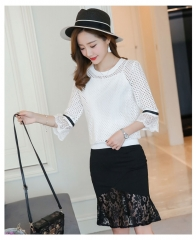 Dress Lace Five Copies Of Sleeve T-shirt With Skirt Two-piece Fashion Suit as picture s