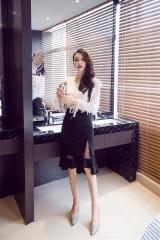 Sexy Split Perspective Net Yarn Stitching High Waist Slim Asymmetric Skirt Black S