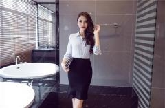 Irregular Chiffon Stitching Skirt High Waist Stretch Slim Package Hip Step Skirt Wedding Festive Black S