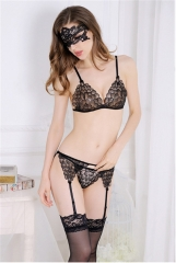 Sexy Lace Embroidered Garter With A Thin,T-back  See-Through Bra black free