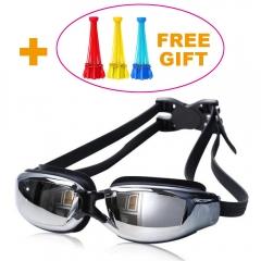 Waterproof Anti-Fog HD UV Protection Swimming Goggles Adjustable Swim Glasses Black Normal