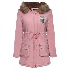 Trendy Hooded Long Sleeve Zipper Woolen Women Coat Light pink S