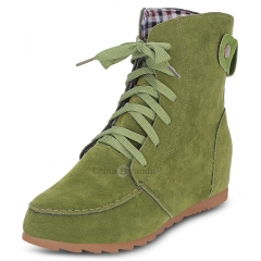 Trendy Round Toe Lace-up Elevator Shoes Women Ankle Boots Green 36
