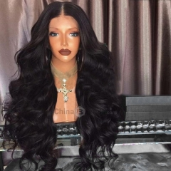 Long Middle Part Fluffy Loose Wave Synthetic Wig black 72cm
