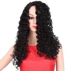Long Shaggy Deep Side Part Kinky Curly Synthetic Wig black 68cm