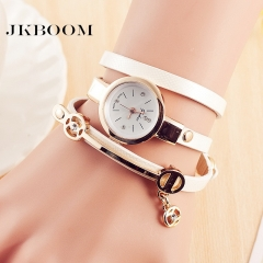 JKBOOM  New lady bracelet quartz watch Fashion belt lichee pattern bracelet wristwatch white