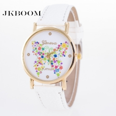 JKBOOM Geneva colorful butterfly watch women's PU belt lady quartz watch white