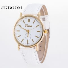 JKBOOM Hot fashion Geneva watch PU belt ladies' watch Quartz student watch white
