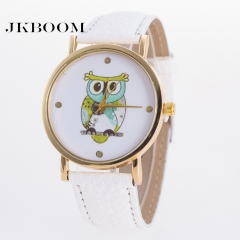JKBOOM Popular owl pattern belt watch Fashion and leisure quartz watch white