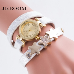JKBOOM Fashion triple winding bracelet watch Leather lady's watch stars diamonds Quartz watch white