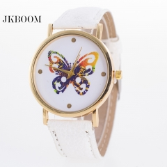 JKBOOM Lady belt butterfly watch Fashionable PU belt quartz lady watch white