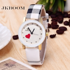 JKBOOM New style Peach heart watch Hot quartz watch Fashion trend PU belt watch white