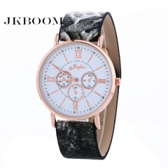 JKBOOM  Roman character Three-eyed watch Ultra-thin serpentine Lady belt quartz watch black