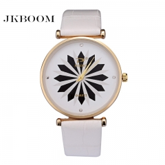 JKBOOM Fashionable bamboo knot Belt gold shell quartz watch Super thin creative women's watch white