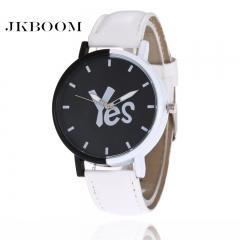 JKBOOM Fashion belt YES NO lovers pair watches men's and women's creative leisure quartz watch 1