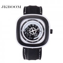 JKBOOM Best-selling silica gel quartz watch Gear creative square Large dial men's watch white