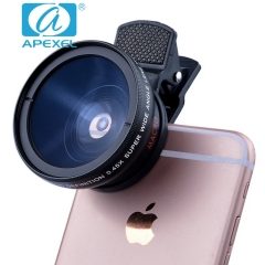 APEXEL APL-0.45WM Ultra Wide Angle Macro Two-in-one Suit 37 mm SLR general External phone lens Black 105*70*40MM