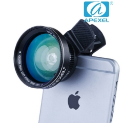 APEXEL APL-0.63WM professional Green film plating 52mm New 0.63X wide Angle + Macro phone big lens black 105*70*40mm