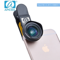 APEXEL Cellphone Wide Angle Lens 18 mm Professional optical focus No distortion selfie live gift black 105*70*40mm