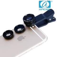APEXEL 180° fish eye wide Angle Macro three-in-one suit general external phone lens black 105*70*40mm