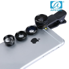 APEXEL phone lens Four in one suit 180 degree Fish eye Wide-Angle Macro Zoom  Lens black 105*70*40mm