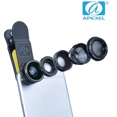 APEXEL Fish eye Wide-Angle Macro Zoom Polarization Five-in-one suit  external phone lens black 105*70*40mm