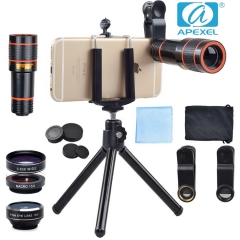 APEXEL Long focus Fish eye Wide Angle Macro Four-in-one gift sets general external phone lens black 105*70*40mm