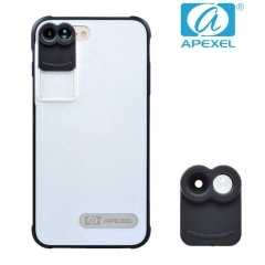 APEXEL iPhone 7 Plus Special dual lens Wide-angle Fisheye Zoom Macro travel phone lens A 105*70*40mm