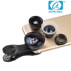 APEXEL Fish eye Wide Angle Macro Polarizer  five-in-one suit general external travel phone lens black 105*70*40mm