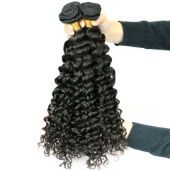 1pc 100% virgin Human Hair Deep Wave Brazilian Curly Hair Extension Natural Color Hair Weft black Black 10