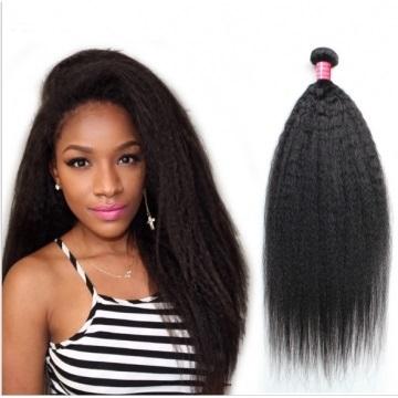 Brazilian Virgin Hair Weave Kinky Straight Yaki Straight 100% Human Hair Extension black 16