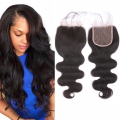 "8A Grade Brazilian Virgin Human Hair Lace Closure 14"" Body Wave Free Part"