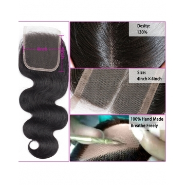 7A Free Part Brazilian Swiss Lace Closure Body Wave Weft Extension Human Remy Hair Weave black 8inch