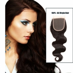"14"" Brazilian 4 x 4 Body Wave Free Part Lace Closure 7A Virgin Hair Bleached Knots Natural 1B Color"