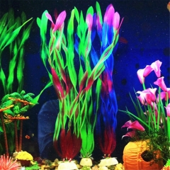 Simulation Fish Tank Aquarium Plastic Artificial Water Plant Grass Ornament Green one size