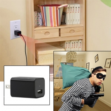 1080P HD USB Wall Charger Hidden Spy Wall Camera Nanny Spy Camera Adapter 32g eu