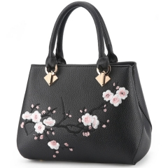 Aitesen Women Handbag New Fashion Elegant Embroidery Single Shoulder One Size black 26*14*22cm