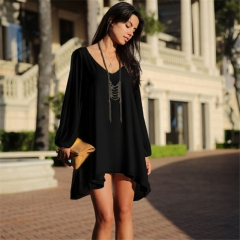 Hot Fashion Women Summer Cocktail Evening Party Beach V-Neck Chiffon Mini Casual Long Sleeve Dress black s