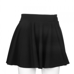 Women Cotton Vintage Stretch High Waist Plain Skater Flared Pleated Skirt Dress black free size