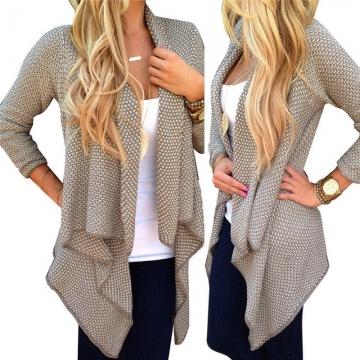 Women Long Sleeve Knitted Cardigan Loose Sweater Outwear Jacket Coat Sweater Top khaki s