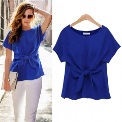 Hot Selling Korean Style Fashion Women's Loose Chiffon Tops Short Sleeve Shirt Casual Blouse blue m